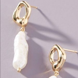 Anthropologie Freshwater Pearl Drop Earrings